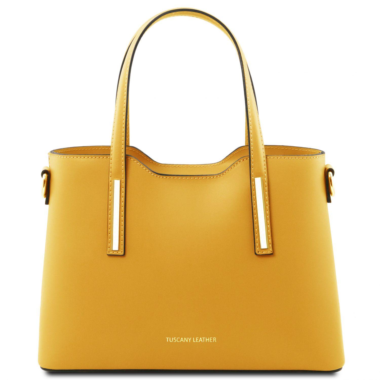 """Olimpia - Kožená kabelka """"tote"""" - malá - Žlutá barva"""