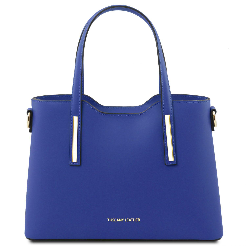 """Olimpia - Kožená kabelka """"tote"""" - malá - Modrá barva"""