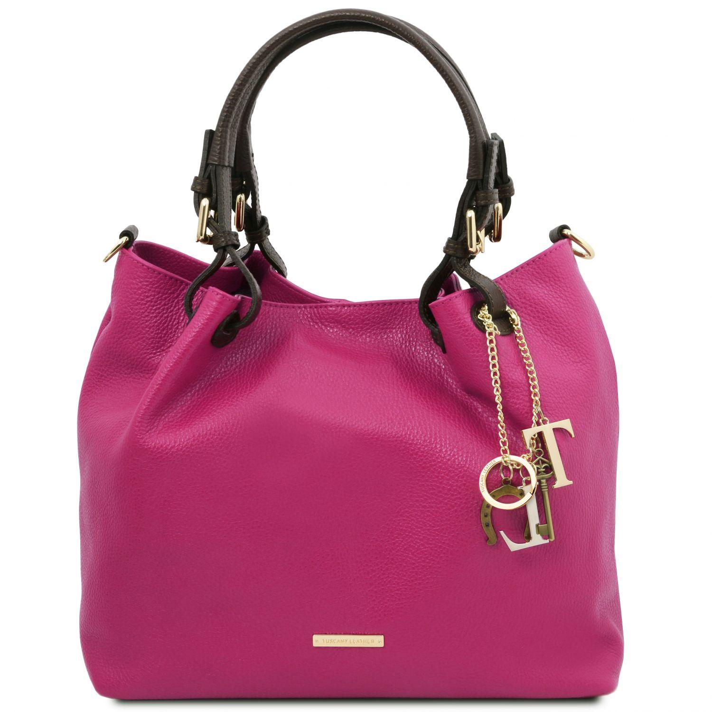 TL KeyLuck - Nákupní taška z měkké kůže - Fuchsie barva