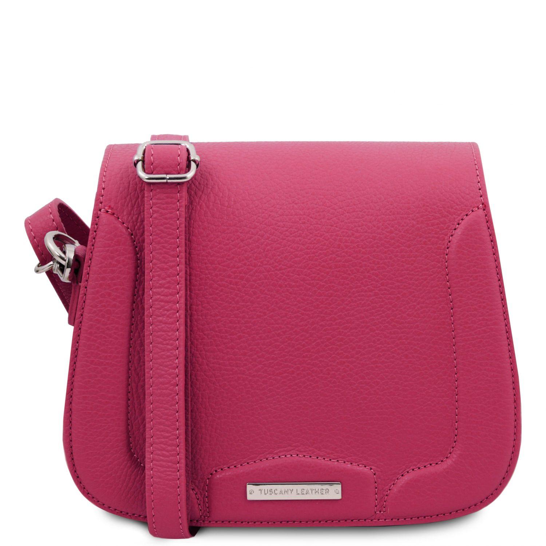 Jasmine - Kožená taška přes rameno - Fuchsie barva