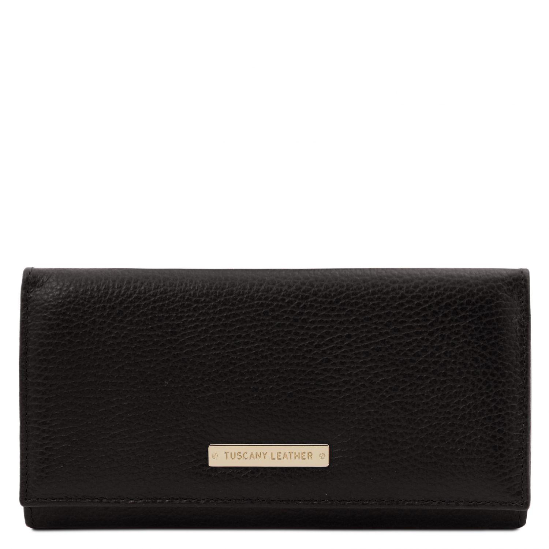 Nefti - Exkluzivní dámská peněženka z měkké kůže - Černá barva