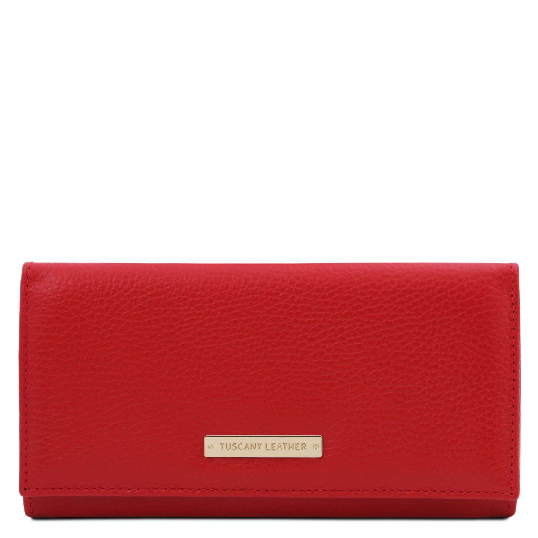 Nefti - Exkluzivní dámská peněženka z měkké kůže - Rtěnková červená barva