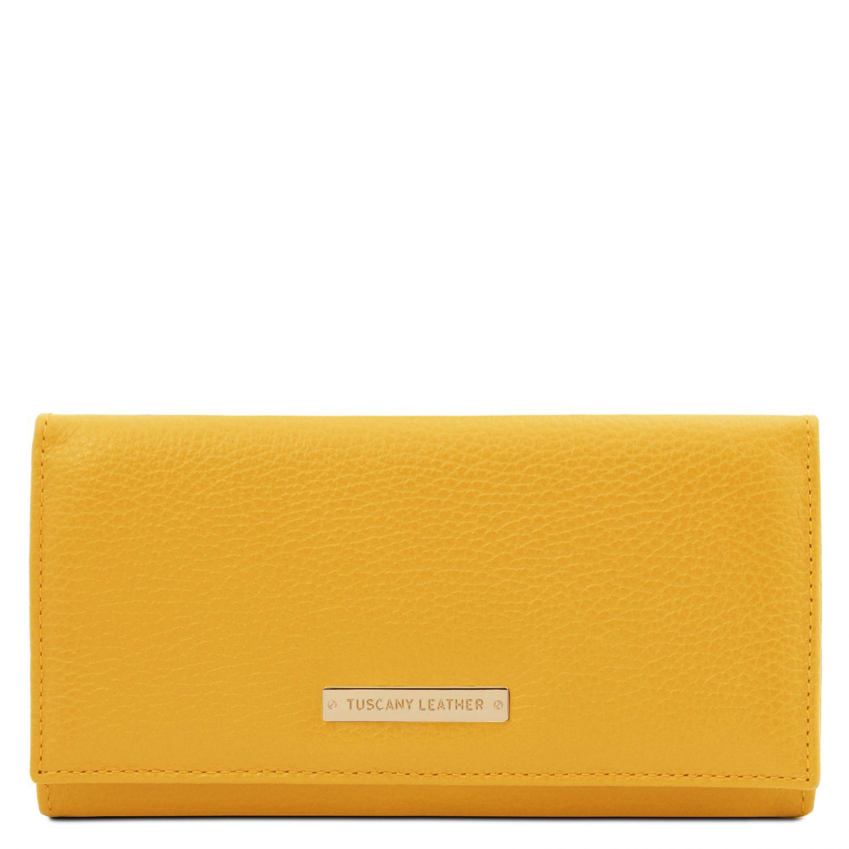 Nefti - Exkluzivní dámská peněženka z měkké kůže - Žlutá barva