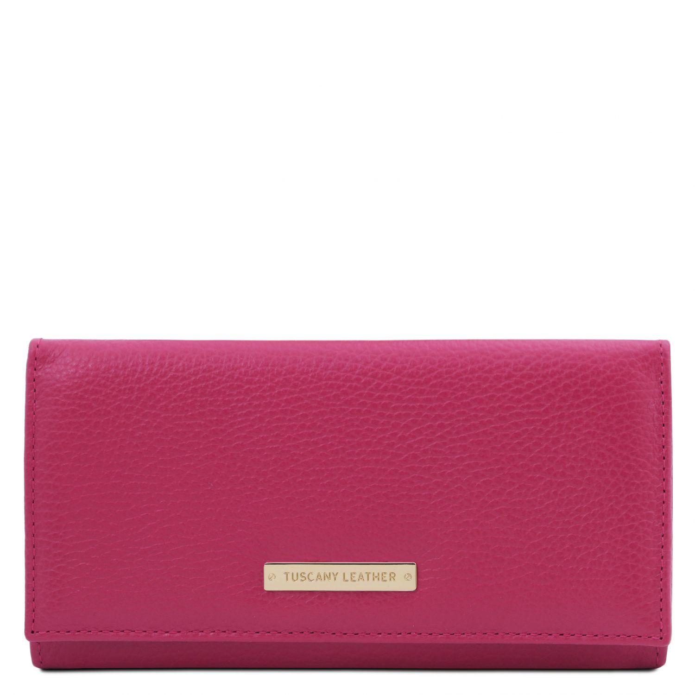 Nefti - Exkluzivní dámská peněženka z měkké kůže - Fuchsie barva