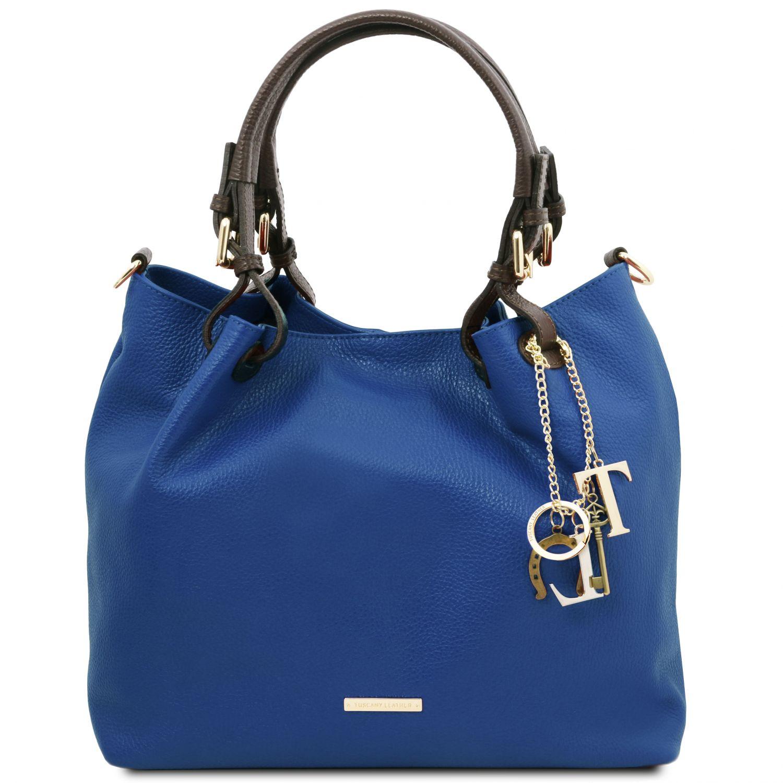 TL KeyLuck - Nákupní taška z měkké kůže - Modrá barva