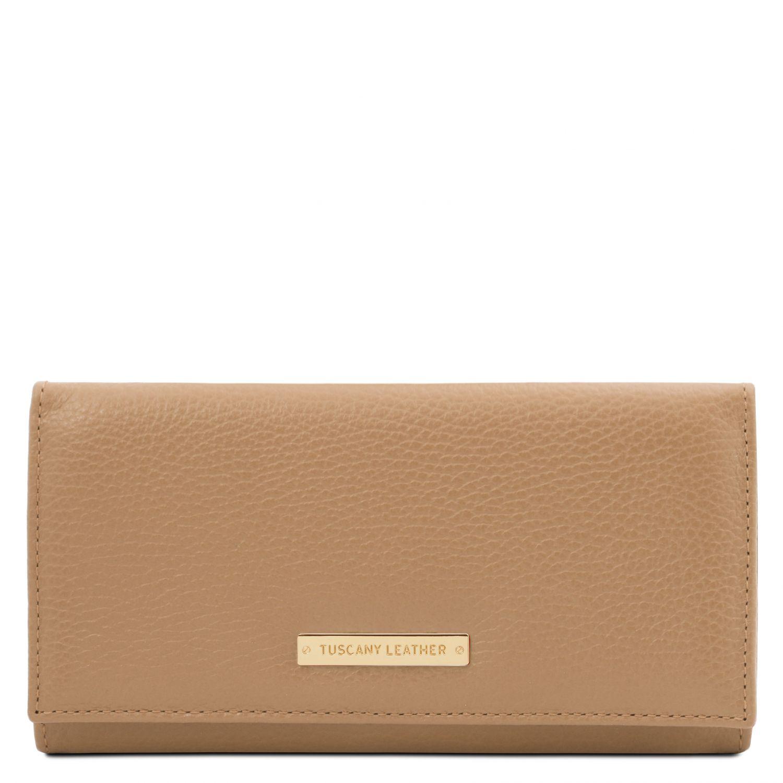 Nefti - Exkluzivní dámská peněženka z měkké kůže - Starorůžová barva