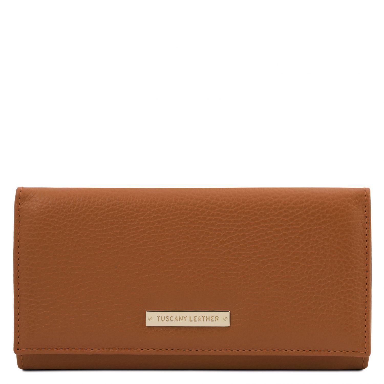 Nefti - Exkluzivní dámská peněženka z měkké kůže - Koňaková barva