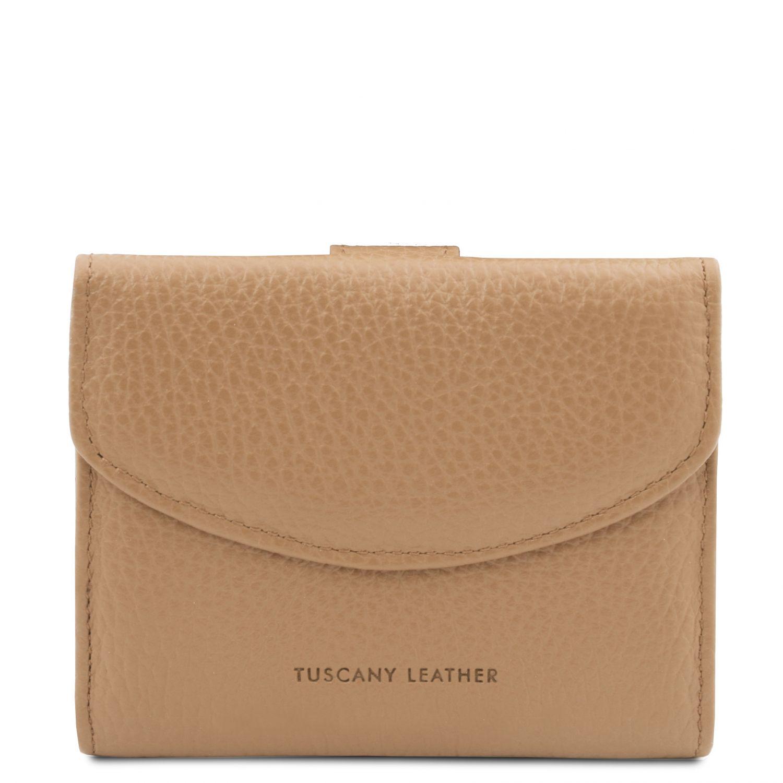 Calliope - Exkluzivní 3-dílná dámská kožená peněženka s kapsou na mince - Starorůžová barva