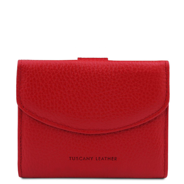 Calliope - Exkluzivní 3-dílná dámská kožená peněženka s kapsou na mince - Rtěnková červená barva