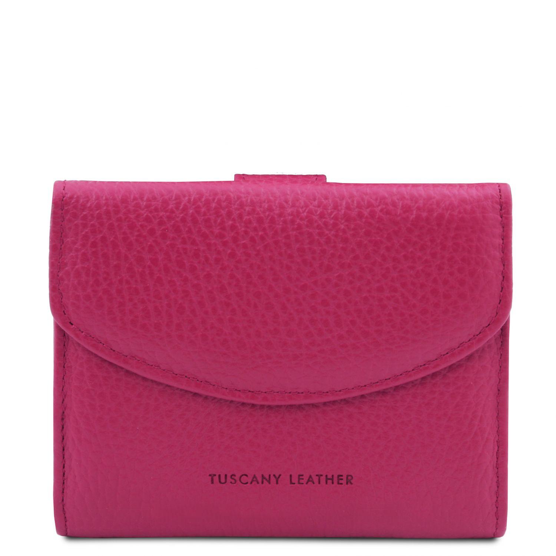 Calliope - Exkluzivní 3-dílná dámská kožená peněženka s kapsou na mince - Fuchsie barva