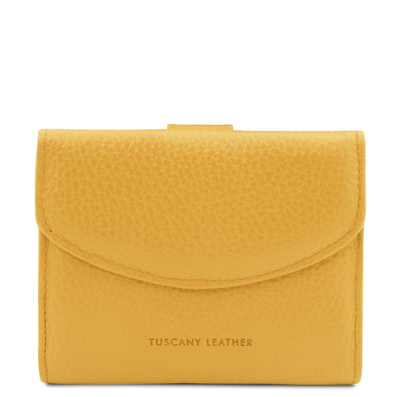 Calliope - Exkluzivní 3-dílná dámská kožená peněženka s kapsou na mince - Žlutá barva