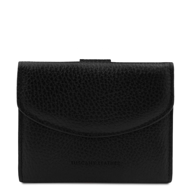 Calliope - Exkluzivní 3-dílná dámská kožená peněženka s kapsou na mince - Černá barva