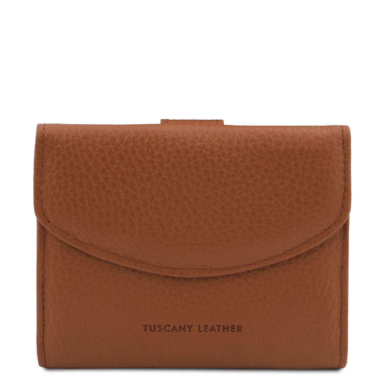 Calliope - Exkluzivní 3-dílná dámská kožená peněženka s kapsou na mince - Koňaková barva