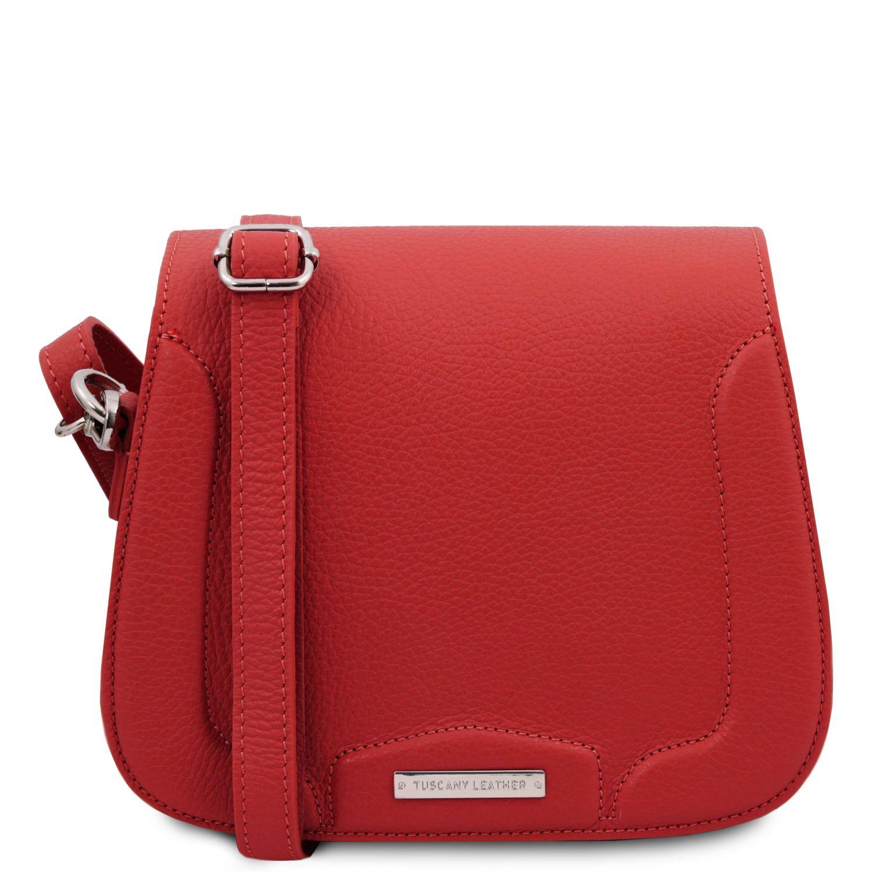 Jasmine - Kožená taška přes rameno - Rtěnková červená barva