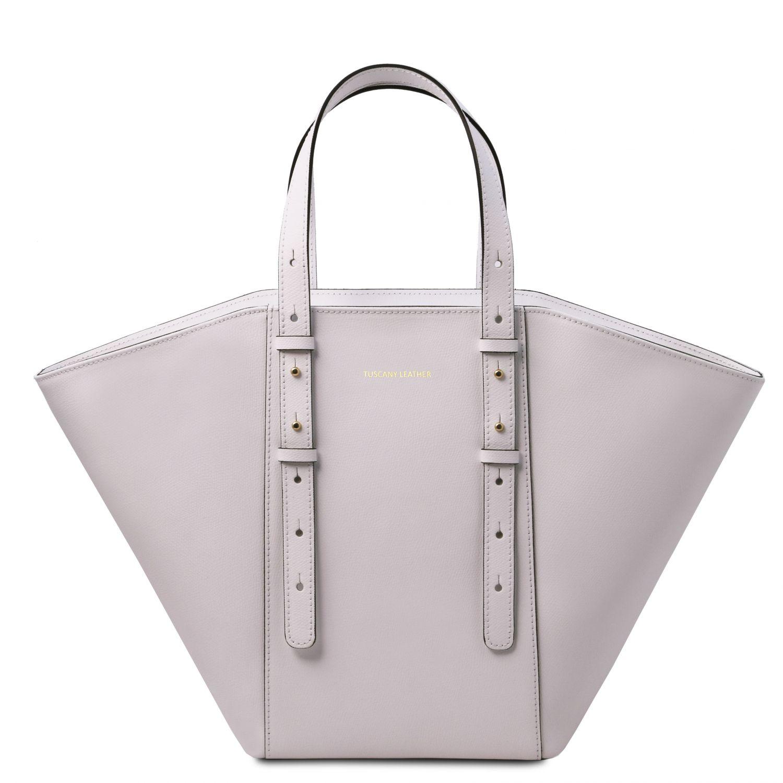 """TL Bag - Kožená kabelka """"tote"""" - Bílá barva"""