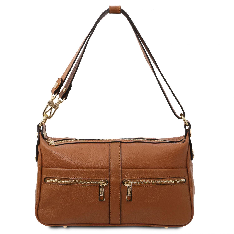 TL Bag - Kožená taška přes rameno - Koňaková barva