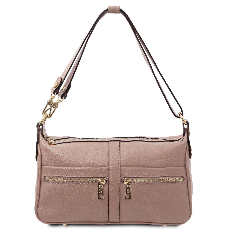 TL Bag - Kožená taška přes rameno - Nude barva
