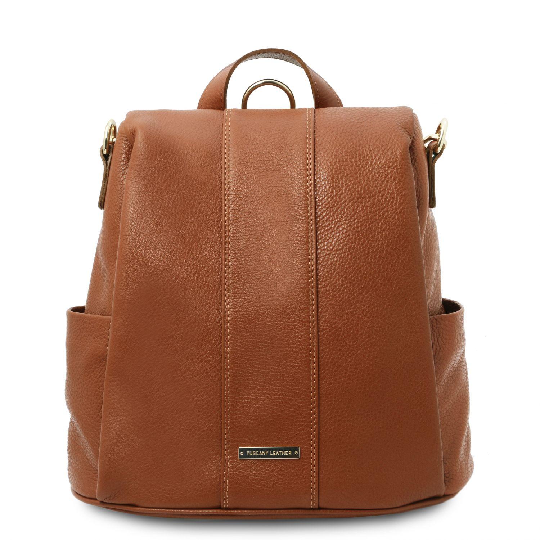 TL Bag - Batoh z měkké kůže - Koňaková barva