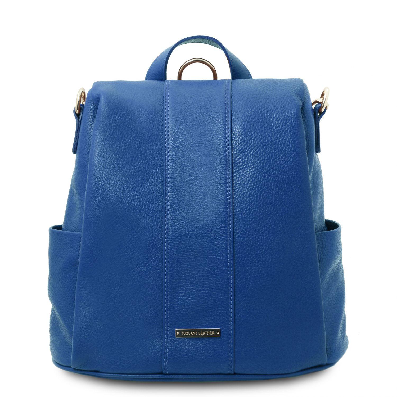 TL Bag - Batoh z měkké kůže - Modrá barva