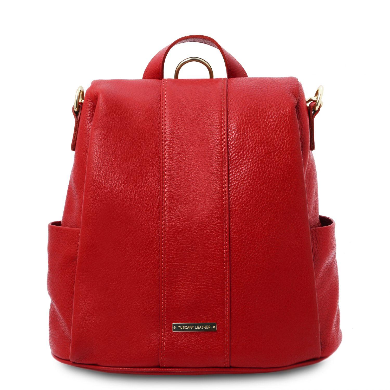 TL Bag - Batoh z měkké kůže - Rtěnková červená barva