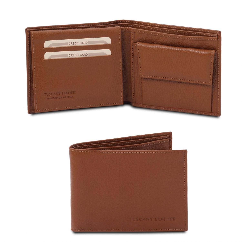 Exkluzivní 3-dílná pánská peněženka z měkké kůže s kapsou na mince - Koňaková barva