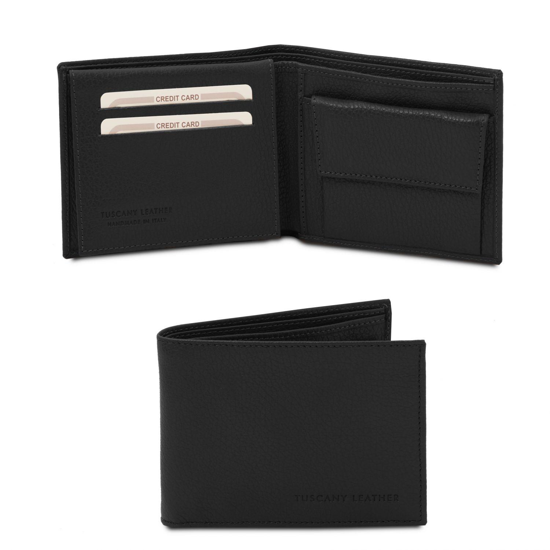 Exkluzivní 3-dílná pánská peněženka z měkké kůže s kapsou na mince - Černá barva