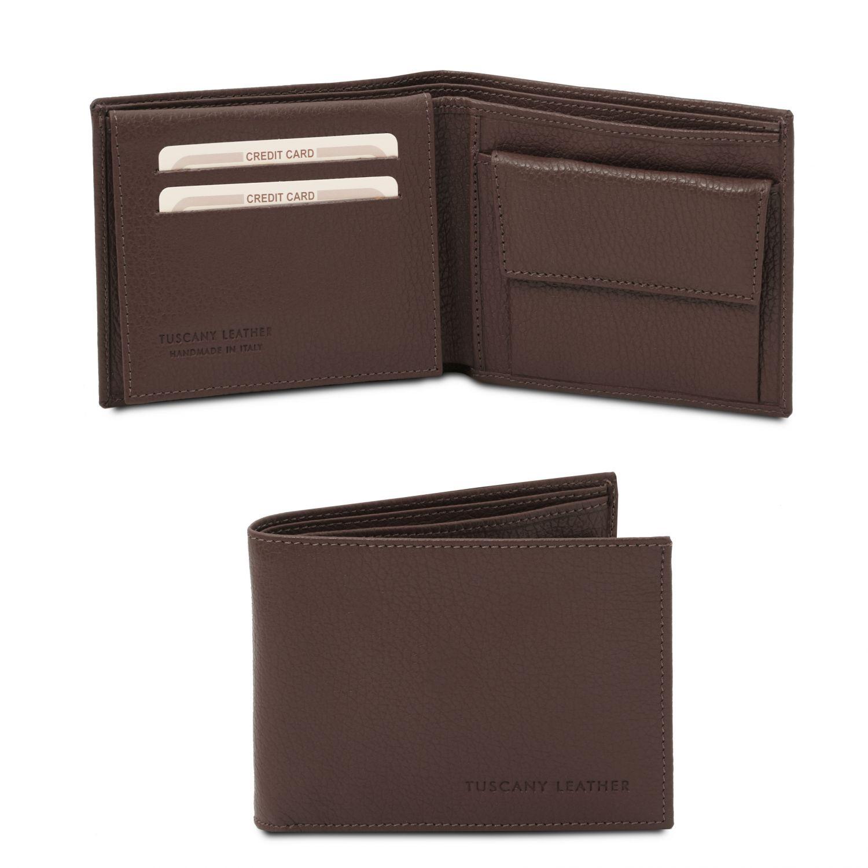 Exkluzivní 3-dílná pánská peněženka z měkké kůže s kapsou na mince - Tmavě hnědá barva