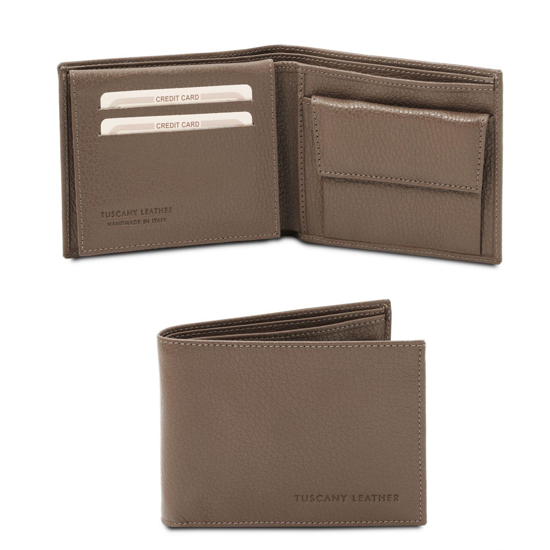 Exkluzivní 3-dílná pánská peněženka z měkké kůže s kapsou na mince - Tmavě hnědošedá barva