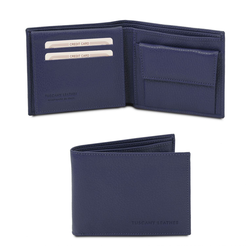 Exkluzivní 3-dílná pánská peněženka z měkké kůže s kapsou na mince - Tmavě modrá barva