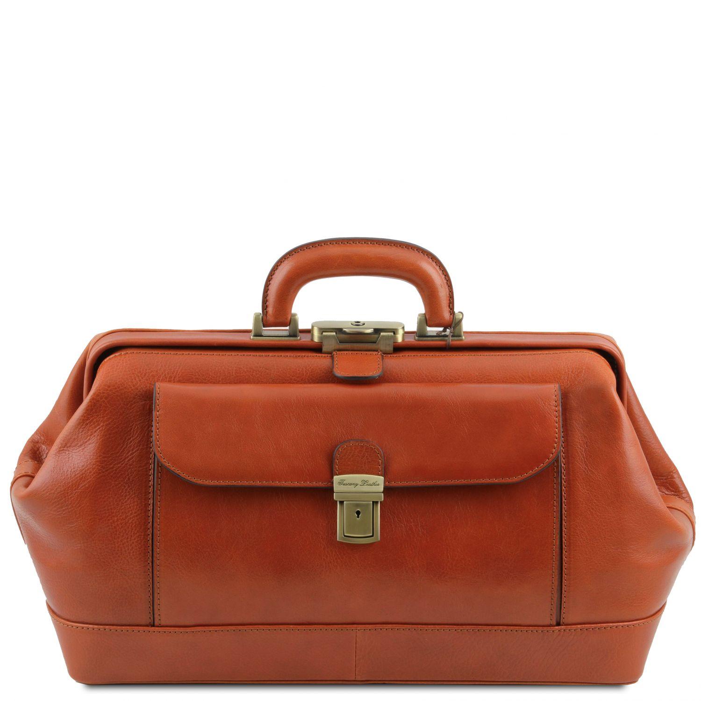 Bernini - Exkluzivní kožená doktorská taška - Světle hnědá barva