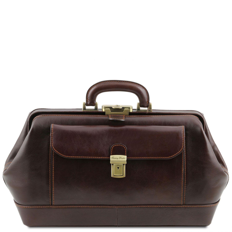 Bernini - Exkluzivní kožená doktorská taška - Tmavě hnědá barva