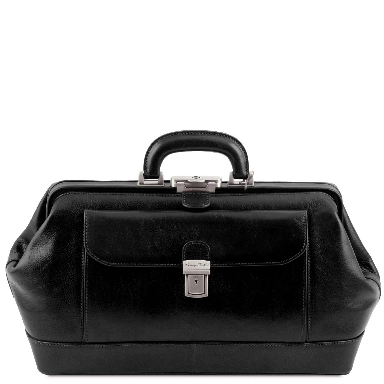 Bernini - Exkluzivní kožená doktorská taška - Černá barva