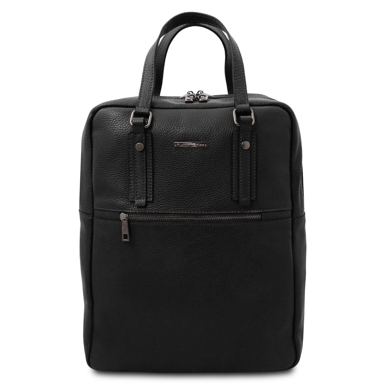 TL Bag - Batoh z měkké kůže se 2 přihrádkami - Černá barva
