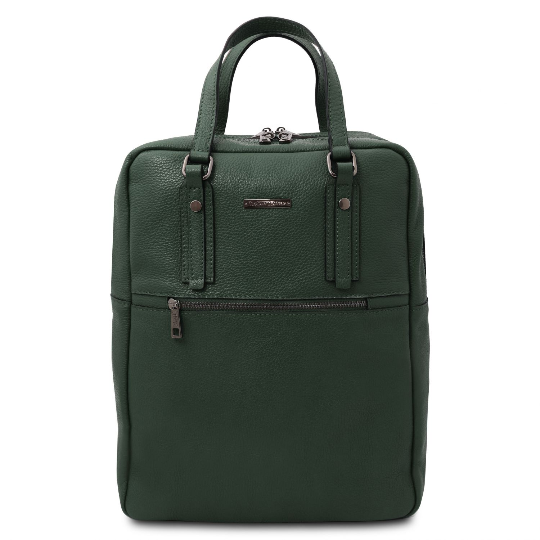 TL Bag - Batoh z měkké kůže se 2 přihrádkami - Lesní zelená barva