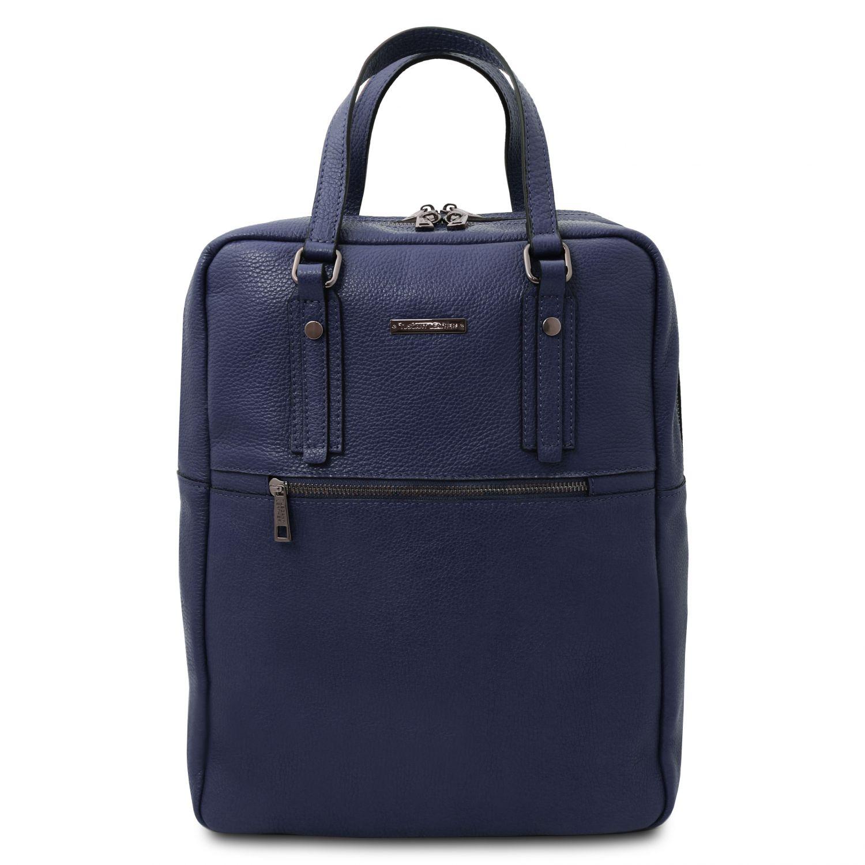 TL Bag - Batoh z měkké kůže se 2 přihrádkami - Tmavě modrá barva