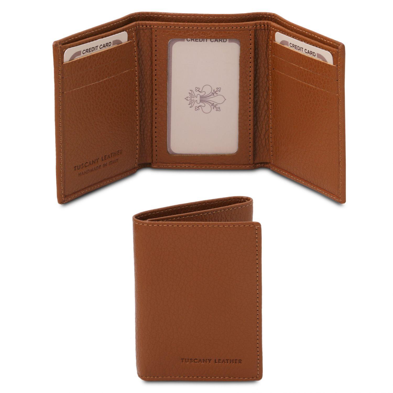 Exkluzivní 3-dílná peněženka z měkké kůže - Koňaková barva