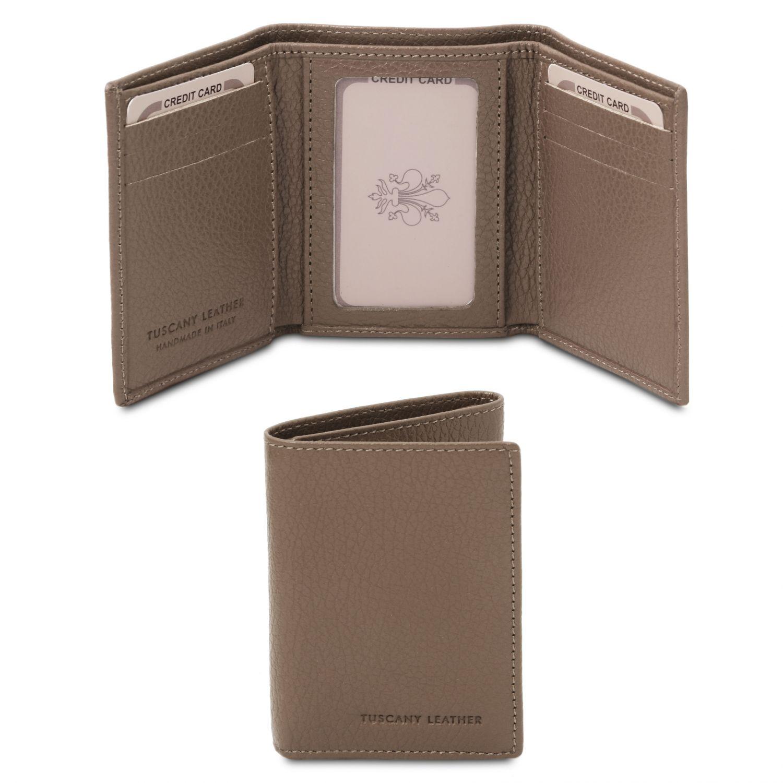 Exkluzivní 3-dílná peněženka z měkké kůže - Tmavě hnědošedá barva