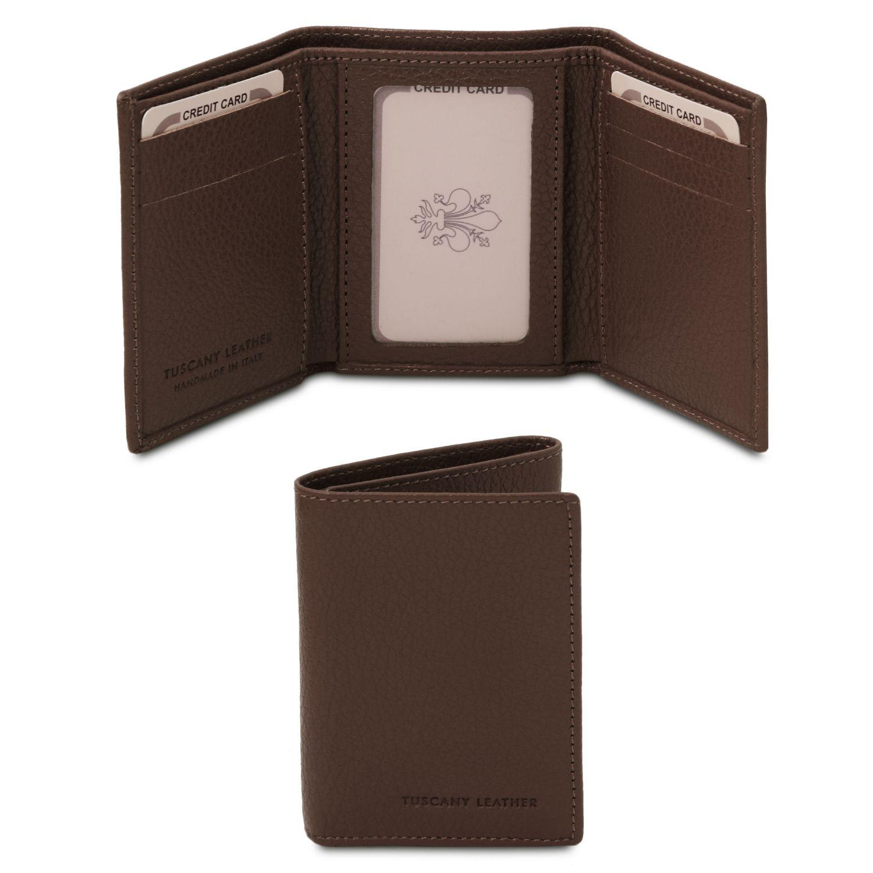 Exkluzivní 3-dílná peněženka z měkké kůže - Tmavě hnědá barva