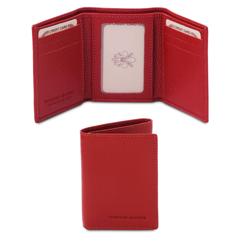 Exkluzivní 3-dílná peněženka z měkké kůže - Rtěnková červená barva