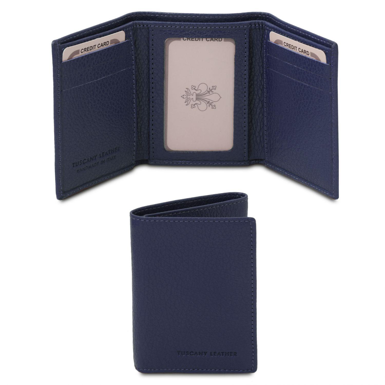 Exkluzivní 3-dílná peněženka z měkké kůže - Tmavě modrá barva