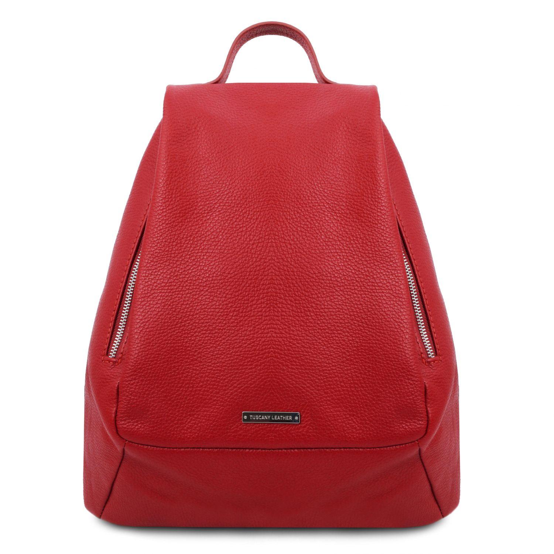 TL Bag - Dámský batoh z měkké kůže - Rtěnková červená barva