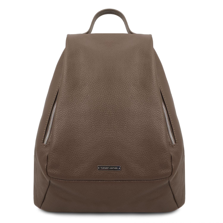 TL Bag - Dámský batoh z měkké kůže - Tmavě hnědošedá barva