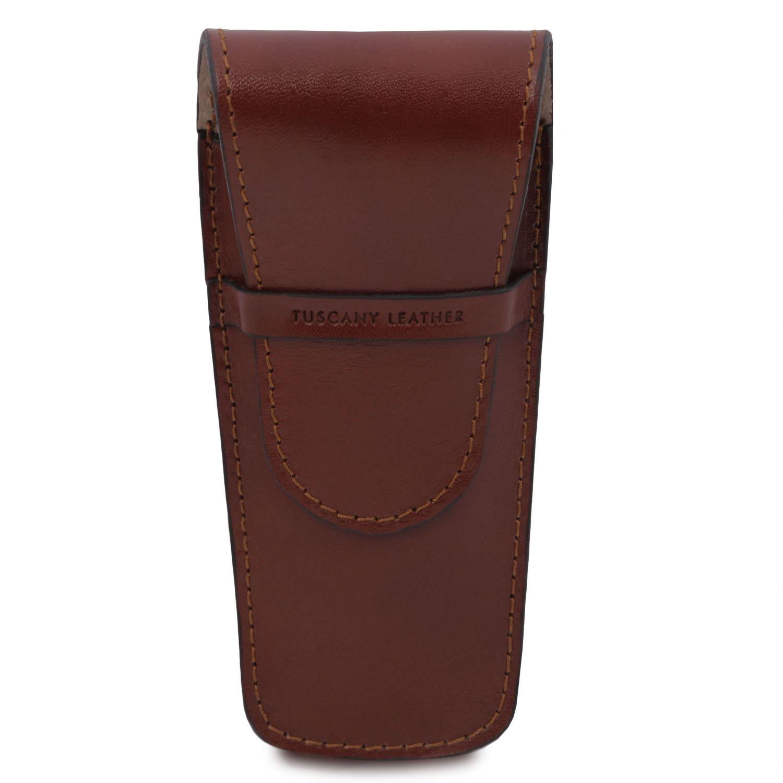 Exkluzivní kožené pouzdro na pero/hodinky se 2 zásuvkami - Hnědá barva