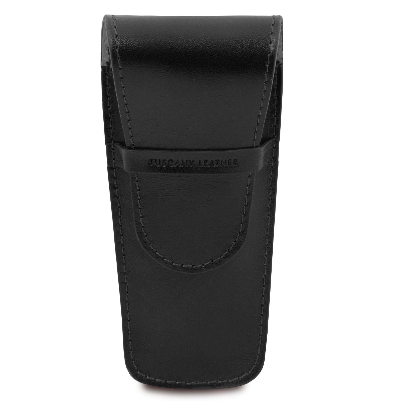 Exkluzivní kožené pouzdro na pero/hodinky se 2 zásuvkami - Černá barva
