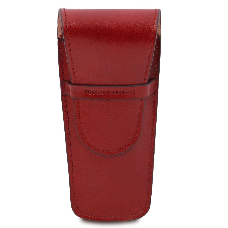 Exkluzivní kožené pouzdro na pero/hodinky se 2 zásuvkami - Červená barva