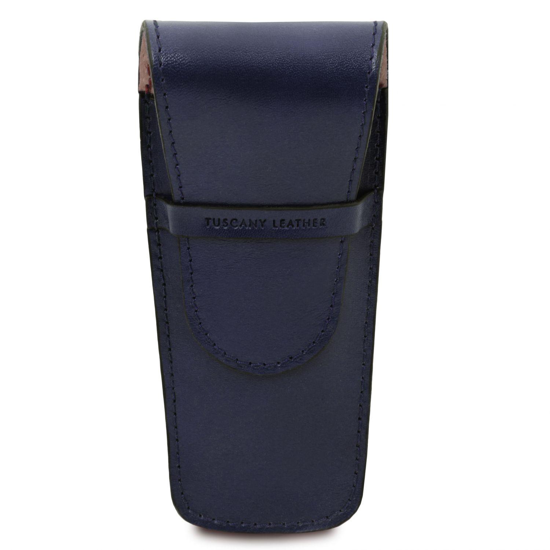Exkluzivní kožené pouzdro na pero/hodinky se 2 zásuvkami - Tmavě modrá barva