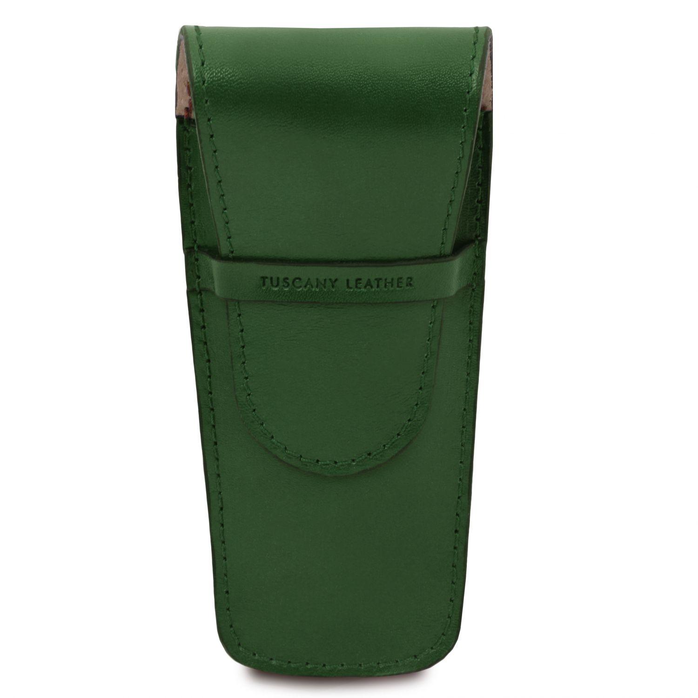Exkluzivní kožené pouzdro na pero/hodinky se 2 zásuvkami - Lesní zelená barva