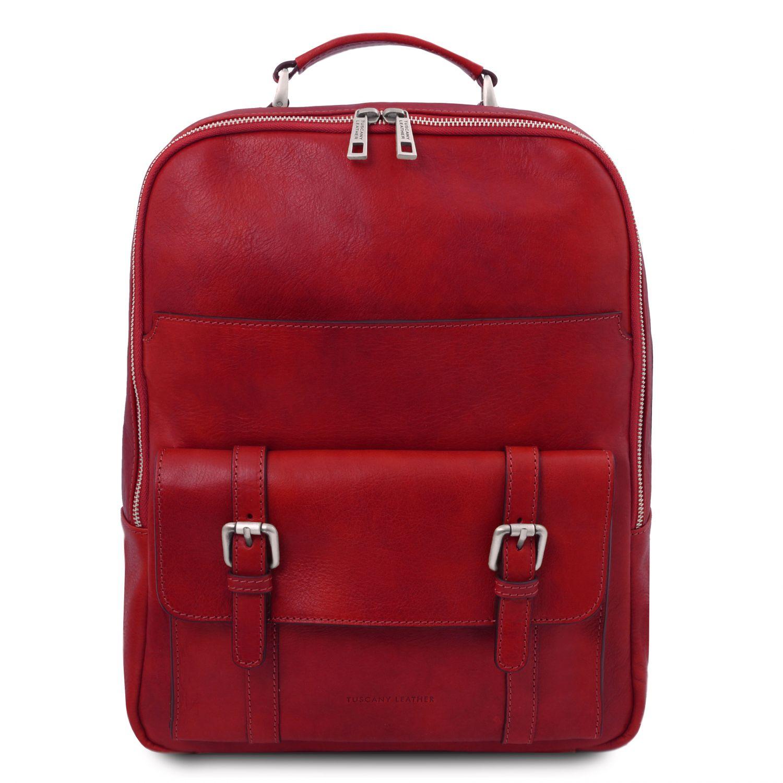 Nagoya - Kožený batoh na notebook - Červená barva
