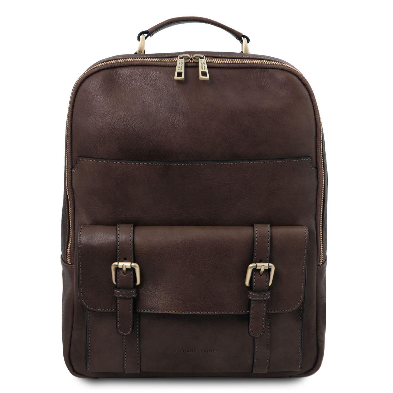 Nagoya - Kožený batoh na notebook - Tmavě hnědá barva