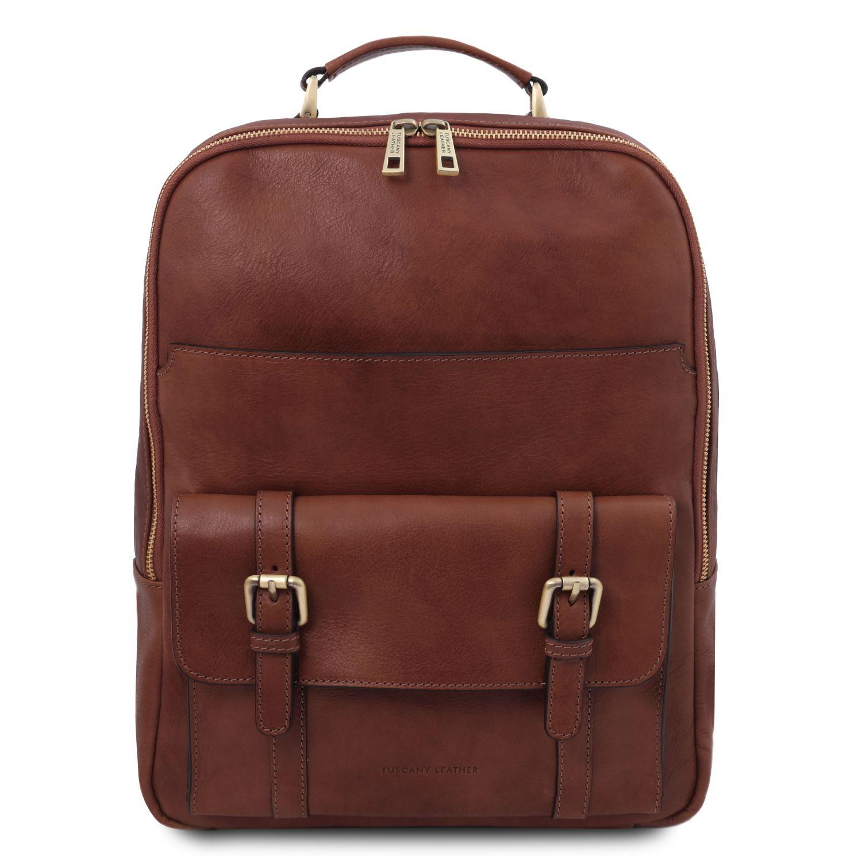Nagoya - Kožený batoh na notebook - Hnědá barva